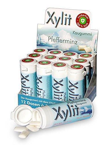 Xylit Kaugummi Pfefferminz - ohne Titandioxid, Inhalt 30 Stk, 12 Packungen