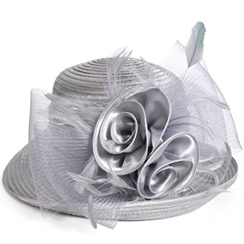 Womens Tea Party Church Baptism Kentucky Derby Dressy Hat (Silver Grey)