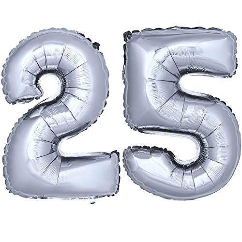 DekoRex® Folienballon Zahlenballon Luftballon Geburtstag Deko 40cm Silber Zahl: 25