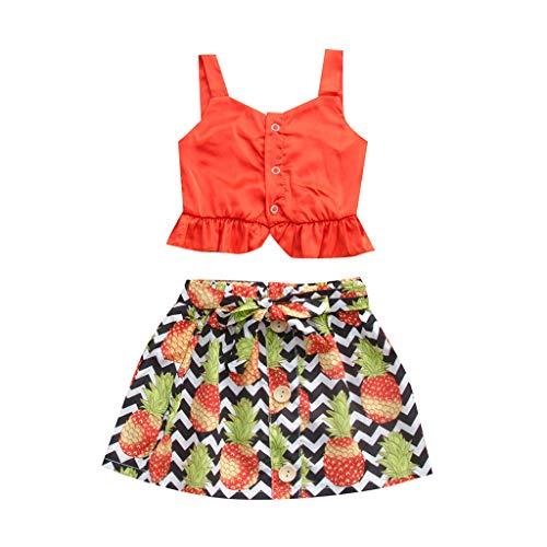 Kleinkind Baby Mädchen ärmellose Tank Tok Solid Tops + Floral Rock Outfits Set