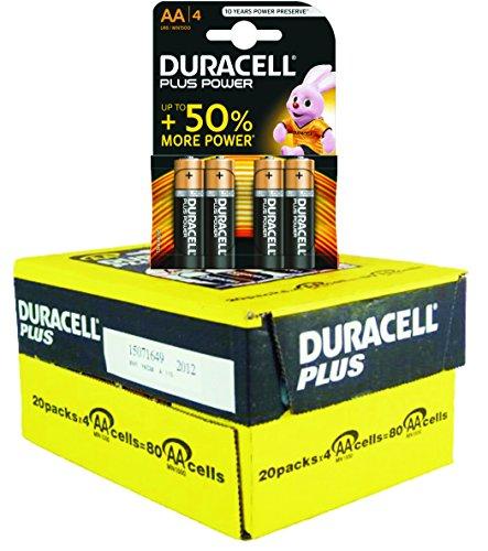 80 Batterie DURACELL PLUS POWER - Confezione intera 20x4-1,5V AA PILE Alcaline Stilo - MN1500 LR6 DURALOCK