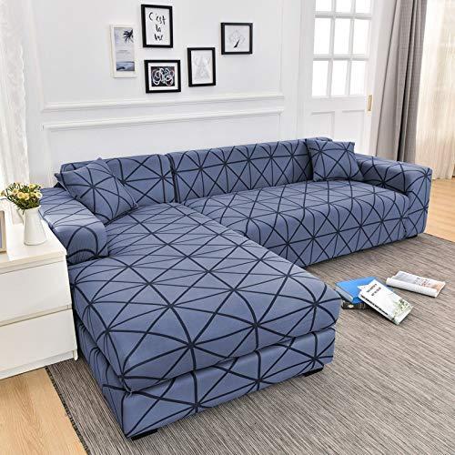 Funda de sofá elástica geométrica de algodón Que Necesita Orden Fundas de 2 Piezas para la Funda de sofá seccional de Esquina en Forma de L para Sala de Estar A22 2 plazas