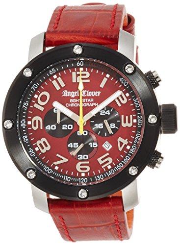 Eight Star NES46SRE Montre chronographe en Cuir Rouge