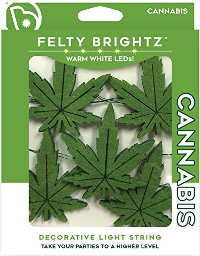 Felty Brightz Party LED String Lights, Cannabis Theme - Bright 8' Lighting Strands with Micro Bulbs, Soft Felt Party Designs for Kids, Bedrooms, Birthday Parties, Indoor Events, or Summer Fun