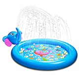 Foayex Baby Splash Pad, Sprinkler Kiddie Pool Inflatable Wading Splash Mat for Kids Infant Toddlers Dog Summer Water Toys for Outside Garden Backyard