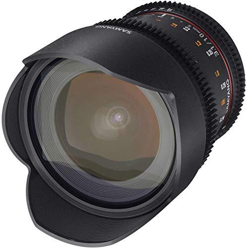 Samyang F1322506101 - Objetivo para vídeo VDSLR para Sony E (Distancia Focal Fija 10mm, Apertura T3.1-22 ED AS NCS CS II), Negro