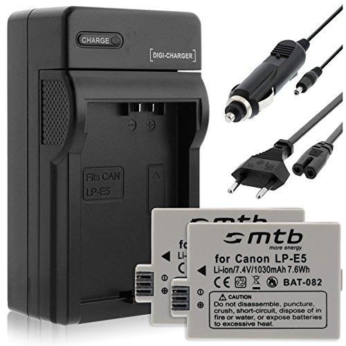 2 Akkus + Ladegerät (KFZ, Netz) für Canon LP-E5 / EOS 450D, 500D, 1000D / Rebel T1i, XS, Xsi