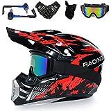 Yase Enduro - Casco de motocross para hombre y mujer, con auriculares Bluetooth, máscara, cara completa, para motocross