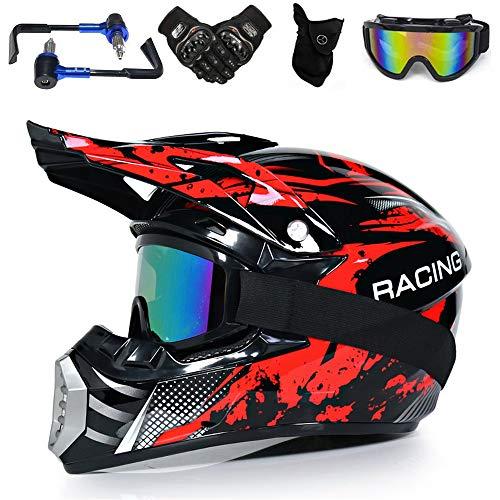 YASE Enduro Motocross Helm Herren/Damen Motorrad Crosshelm mit Motorrad-Handschutz Handschuhe Masken Brille, Full face Off Road Motorräder Downhill Enduro Helm Crosshelm (Rot Drache,L 56-57CM)