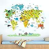 Mapamundi Animales Historieta Pegatinas Decorativas Adhesiva Pared Removible Dormitorio Salón Guardería Habitación Infantiles Etiquetas de La Pared Murales (90 * 30CM*3)