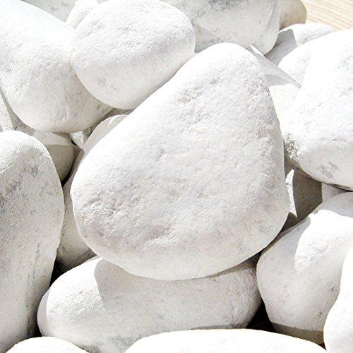 MGS SHOP Carrara Zierkies Garten weiß gerundet Körnung (40/60 mm)