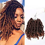 7 Packs Pre-twisted Spring Twist Hair 8 inch Pre-Twisted Passion Twists Crochet Braids For Bob Spring Twists Short Curly Bomb Twist Braiding Hair Hair Extensions(8Inch,T1B/30)