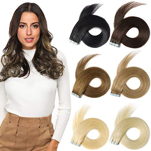 ROSEBUD Tape in Hair Extensions REMY Human Hair, Secure Skin Weft Hair Extensions Seamless 40g/Pack 20Pcs 14 Inch