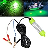 Lightingsky 12V 45W 4500 Lumens LED Submersible Fishing Light 4 Sides Underwater Fish Finder Lamp with 5m Cord (Green)