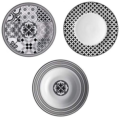 Brandani 53209Alhambra servizio da tavola 18 piatti, porcellana, multicolore