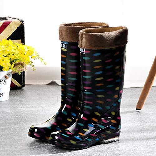 Wellies Rubberen laarzen, voorjaar en herfst, warme regenlaarzen, gele bloemen, waterdichte lange pijpen, schoenen, dames, rubber, schoenen, werk, verzekering, antislip, schoenen, kleurrijk plus katoen