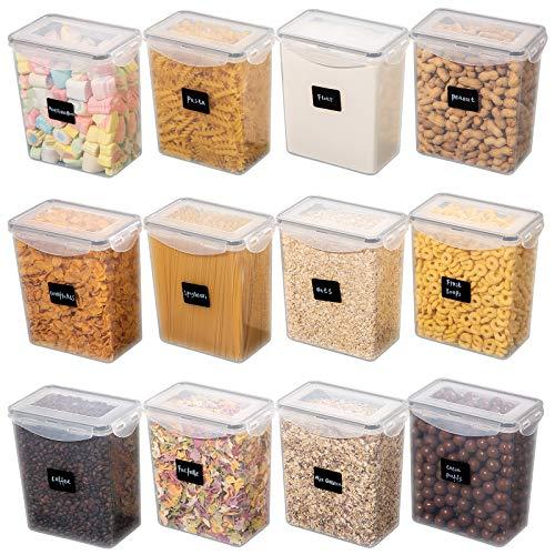 Yangbaga 1.6L Botes Legumbres Cocina, 12pcs Recipientes de Botes Cocina Almacenaje de Plástico de Alimentos Hermetica con Tapa Cucharas Etiquetas y Rotulador para Comida, Legumbres, Pasta y Ca