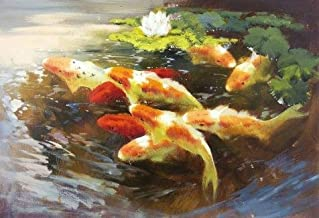 Oil Painting 'Carps In The Pond' Printing On Perfect Effect Canvas , 16x23 Inch / 41x58 Cm ,the Best Hallway Artwork And Home Gallery Art And Gifts Is This Replica Art DecorativePrints On Canvas