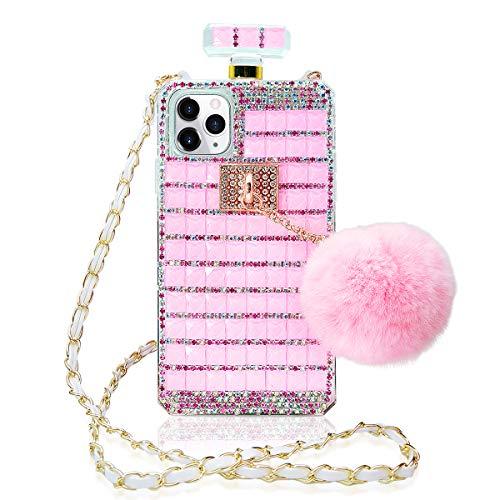 Losin Perfume Case Compatible with Apple iPhone 11 Pro Max 6.5 inch Luxury Bling Diamond Rhinestone Bow Perfume Bottle Furry Plush Ball Bling Glitter Gemstone Soft TPU Back Case with Lanyard