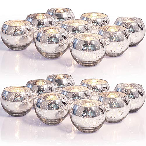 LETINE 36pcs Silver Votive Candle Holders for Table - Round Tealight Candle Holder Bulk -Ideal Mercury Glass Votives Centerpieces for Wedding Table Decorations, Parties & Home Decor…