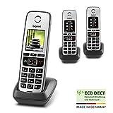 Gigaset Family IP-Telefone – 3 Schnurlose Telefone zur Anbindung an alle gängigen Router, großes Farbdisplay - Trio-Set, anthrazit-grau