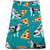 BAOQIN Long-Lasting Quality,Quickly Absorbs Moisture Stylish Toalla Great Dane Pizza Soft Cotton Large Hand Toalla- Multipurpose Bathroom Toallas for Hand, Face, Gym and SPA