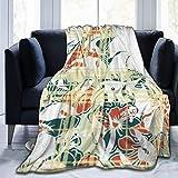 wobuzhidaoshamingzi Franela Fleece Blanket Hibiscus and Tartan Plaid Texture Lightweight Super Soft Cozy Bed Blanket