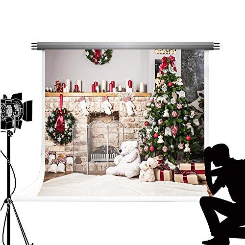 Kate Foto Hintergrund Weihnachten 7x5ft/2.2x1.5m weiß Hintergrund Weihnachtsbaum Requisiten Weihnachts Kamin Socke Hintergrund fototermin Weihnachten Dekoration fotostudio Fond