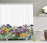 lovedomi Duschvorhang mit Blumengarten & Gänseblümchen, Veilchen & Tulpen, Naturfarben, bedruckt, Stoff, Badezimmerdekoration, blickdicht, mit Haken, 152 x 183 cm, Ringelblume
