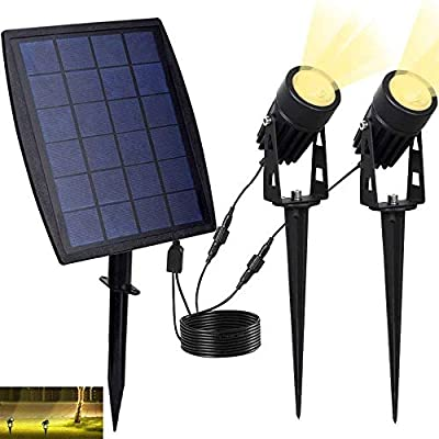 DINGLILIGHTING Led Solar Powered Spot Lights,Outdoor Low Voltage Garden Spotlights, Security Landscape Lighting for Outside Yard Lawn Deck Exterior Pool Walls Trees Ground Decoration,Warm Light