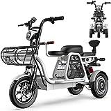 Bicicletas Eléctricas, Bicicletas eléctricas de 3 ruedas para adultos con 500W 48V 8A 12 '' Scooter eléctrico de la montaña con bloqueo eléctrico Cargador de batería rápida con padre-niño Tres plazas