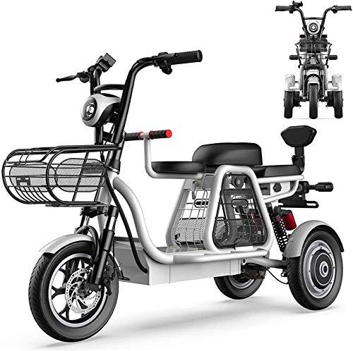 Bicicletas Eléctricas, Bicicletas eléctricas de 3 ruedas para adultos con 500W 48V 8A 12 '' Scooter eléctrico de la montaña con bloqueo eléctrico Cargador de batería rápida con padre-niño Tres
