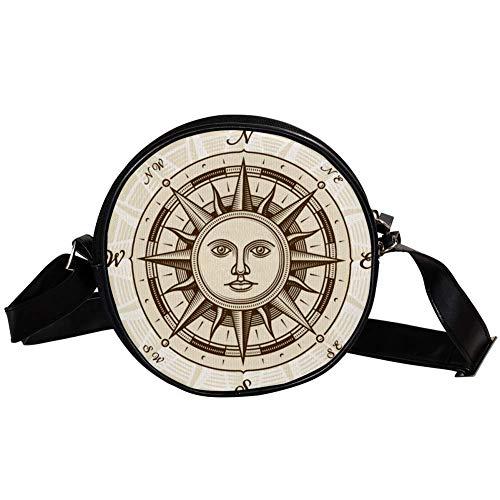 Bennigiry Handtasche mit Sonnen-Kompass, rund, für Teenager, Mädchen und Frauen