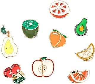 Apol Cute Cartoon Fruit Brooch Pins Set,Apple Pear Cherry Orange Lemon Enamel Lapel Pin Cartoon Badges 9 Pieces for Teen Children Girl Clothes Backpacks Decor Birthday Gift