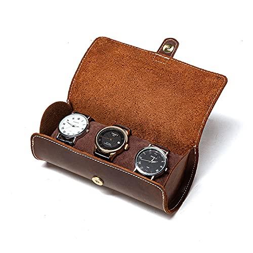 LHY HOME Estuche con Rollo De Reloj De Cuero con 2 Ranuras, Caja De Reloj Vintage Portátil, Soporte para Relojes, Organizador De Bolsa De Almacenamiento De Joyería De Viaje, 13x8,5 cm