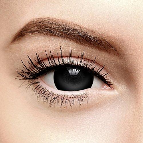 Schwarze Mini Sklera Halloween Farbige Kontaktlinsen ohne Stärke (Tageslinsen)