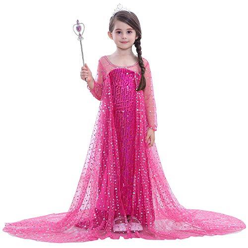 FStory&Winyee Mädchen Kostüm Prinzessin ELSA Kleid Blau mit Umhang Kinder Karneval Kostüm Weihnachten Party Verkleidung Eiskönigin Kostüm Glitzer Cosplay Kleid Pink Festlich Pailletten