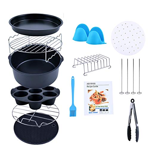 Creativefine Air Fryer Accessories Kit 12 pcs-Roasting Racks with Skewers, Silicone Muffin Pan, 8' Pizza Pan, 100pcs Parchment Liners, Basting Brush, For 5.3 QT GoWise, Philips, Cozyna or Larger