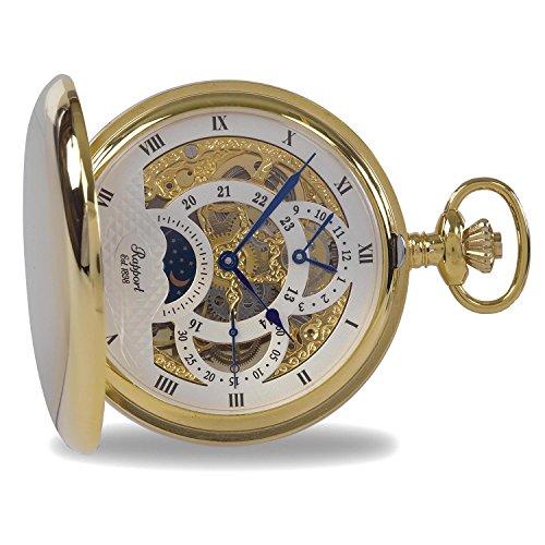 Rapport Vintage Taschenuhr mit Kette – Klassische Oxford Hunter Tasche Taschenuhr mit Mondphase, Gold