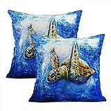 Juego de 2 fundas de almohada de algodón con diseño de animales y burbujas realistas en el océano, para decoración del hogar, sala de estar, dormitorio, sofá, silla, funda de cojín, 45,7 x 45,7 cm