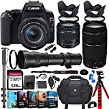 Canon EOS Rebel SL3 DSLR Camera with 18-55mm is STM Lens + Canon EF 75-300mm III and 420-800mm Preset Zoom Lens + 128GB Memory + Filters + Editing Software + Spider Flex Tripod + Professional Bundle