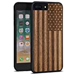 JuBeCo for iPhone 8Plus/7Plus Case, Slim Wood Protective Cover Case for iPhone 8Plus/7Plus,Handmade Natural Solid Wood Case, Bamboo Case (us Flag)