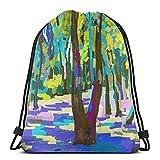 ATUEMACO Pintura digital original de paisaje de verano Mochila con cordón Bolsas de playa Gimnasio Natación Deportes Cuerda Mochilas Bolsa Bolsa de almacenamiento a granel