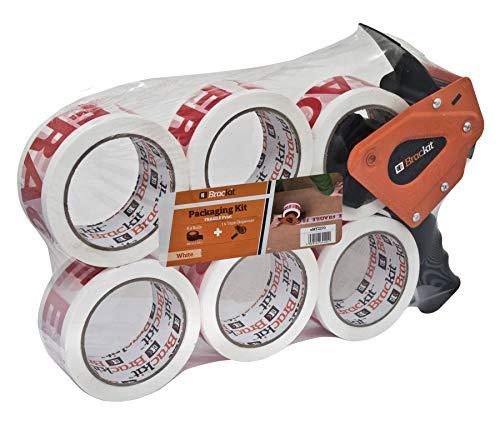 Brackit - Cinta de embalaje frágil con dispensador, 48 mm x 66 m, paquete de 6 rollos - Cinta de embalaje fuerte para uso regular o movimiento - Sella fácilmente tus paquetes y cajas