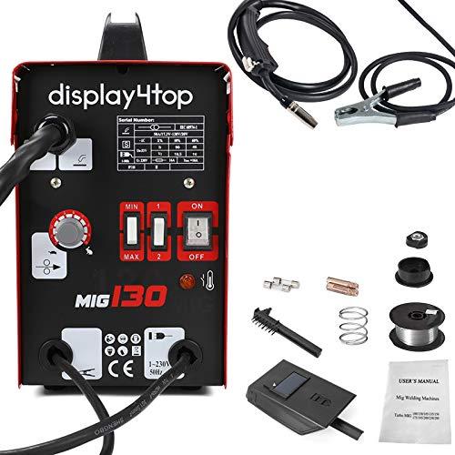 Display4top 220V Rojo Soldador Hilo Continuo Sin Gas MIG 130 Máquina de Soldadora,con máscara y soldadura Alambre de soldadura con cepillo/Accesorios para herramientas
