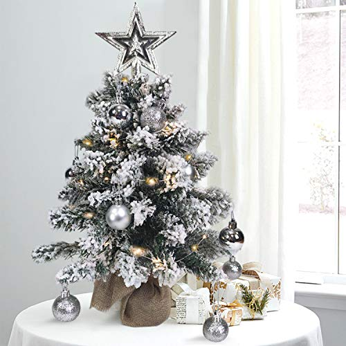 DOUBLX Mini Christmas Tree with Lights 2ft Small Tabletop Christmas Tree, Artificial Fake Arbol De Navidad with Decorations, Flocked LED White Xmas Tree with Snow (2FT (FBM))