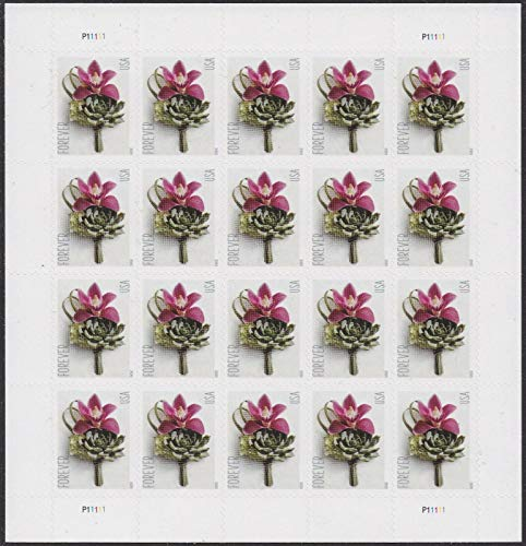 Contemporary Boutonniere Sheet of 20 Forever Postage Wedding Stamps Scott 5457