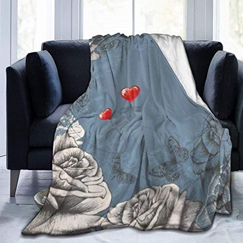 Manta floral grunge pétalos de rosa y mariposas corazones rojos amor vintage ultra suave manta de microforro polar ligera cálida manta para adulto niño manta de viaje 201 x 152 cm
