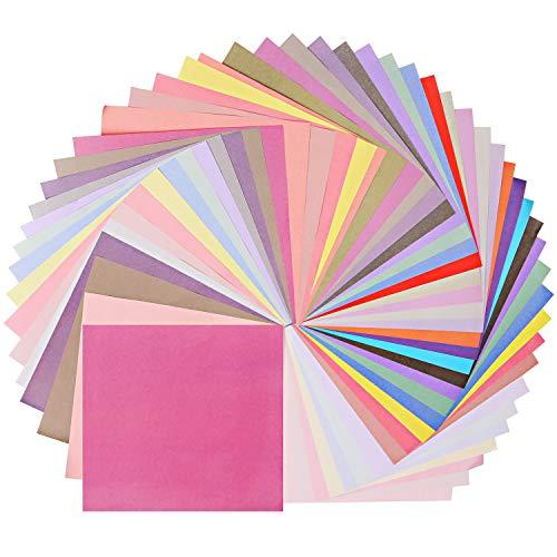 Origami Papier, 50 Blatt mit 50 Farben 20x20CM Doppelseitiges Origami Faltpapier DIY Kunst Bastelpapier für Kunstdekorations- und Handwerksprojekte