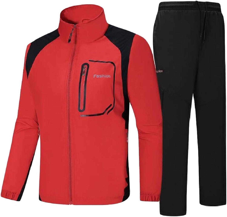 Joe WenkoCA Mens Outdoor Jacket Thin Sports 2PCS Waterproof Tracksuit Set